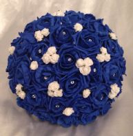 ARTIFICIAL WEDDING FLOWERS WHITE ROYAL BLUE FOAM ROSE BRIDE WEDDING BOUQUET